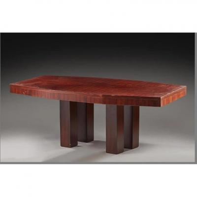 Table Art Deco Modernist Rosewood 1920/1930 Attributed To Jacques Adnet