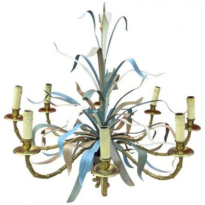 Maison Baguès, Large Chandelier In Gilt Bronze And Lacquered Metal Eight Lights Circa 1950/1960