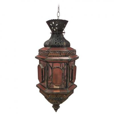 Oriental Style Lantern In Antique Copper, White And Orange Glass Circa 1970
