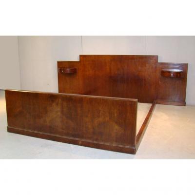Jules Leleu, Lit Epoque Art Deco En Acajou Circa 1927 Référencé,