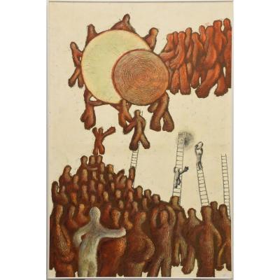 """GALAND Claude Huile sur panneau """" Surréaliste"""" signée Galand 72 pour Claude Galand (120 x 80cm)"""