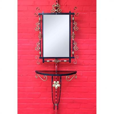 Console d'Applique Et Son Miroir De Style Neo Baroque Circa 1950/1960