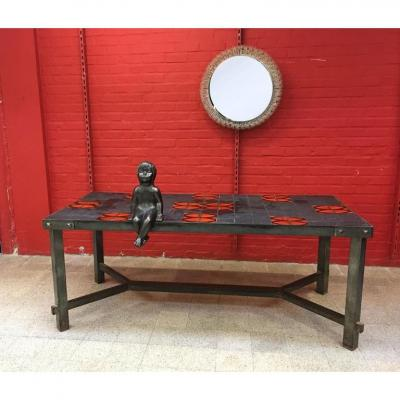 Large 1950 Table In The Taste Of Jacques Adnet, Metal, Slate And Ceramic, Circa 1950