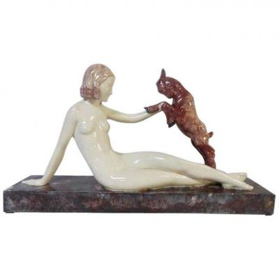 "Guero, ""woman At La Biche"" Art Deco Period Ceramic Group, Signed, Circa 1930"