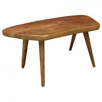 Brutalist Freeform Table In Solid Elm, Circa 1950