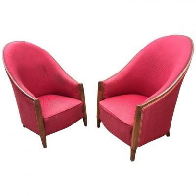 Joubert Et Petit (decoration Interieur Moderne)  Paire De Fauteuils En Acajou Epoque Art Deco ,