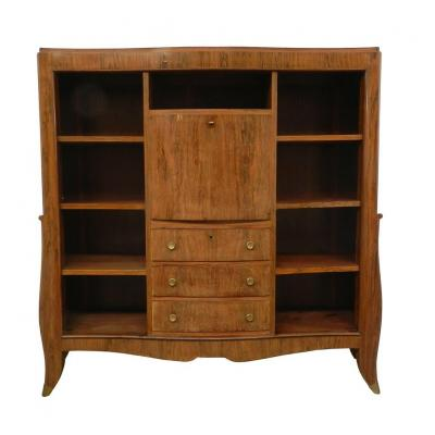 Secretary / Bookcase Art-deco Period In Rosewood Veneer, Circa 1930