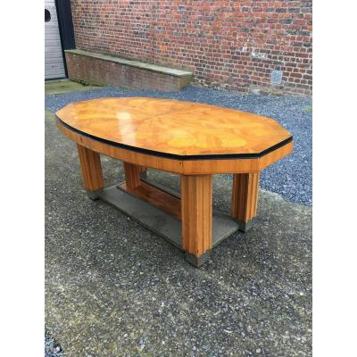 Large Art-deco Dining Table, Marquetry Decor On The Plateau, Around 1925/1930