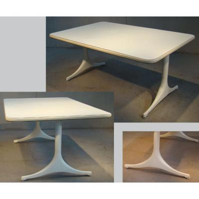 George Nelson, Living Room Table, Tray Covered With Laminate White 2 Feet Aluminum