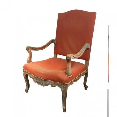 Large Old Louis XV Style Armchair, End XIX
