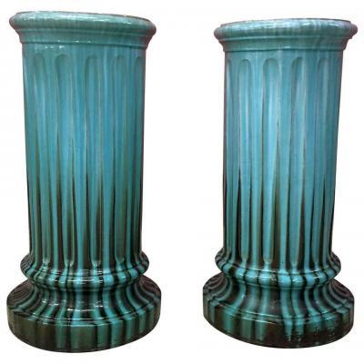 2 Colonnes Art Nouveau En Ceramique , Dans Le Style De Clement Massier, Vallauris, Circa 1900