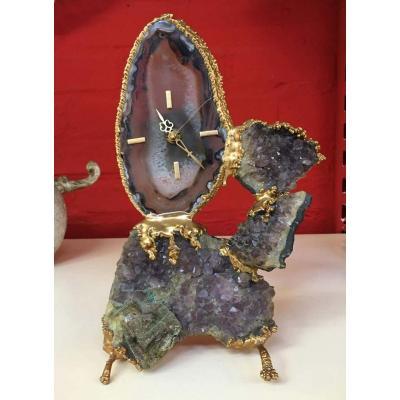 Robert Duval Brasseur ( Attribué à ) Pendule En Bronze Et Agate Circa 1970
