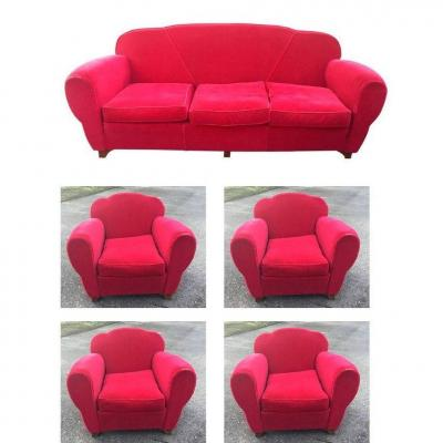 Art Deco Velvet Lounge Including 1 Bench And 4 Armchairs Circa 1940/1950