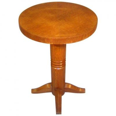Charles Dudouyt Ou Pierre Bloch, Art Deco Pedestal Table In Chene Circa 1940