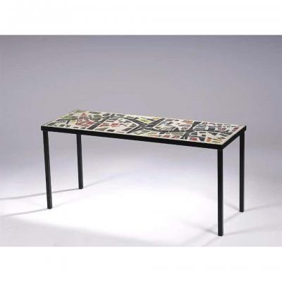 Living Room Table, In The Style Of Jacques Avoinet, Circa 1960 (cement, Glass And Metal)