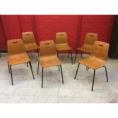 Suite Of 6 Stackable Chairs In Thermoformed Wood, Circa 1950