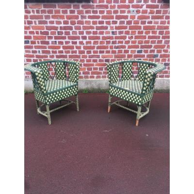 Pair Of Art Deco Rattan Armchairs Circa 1930