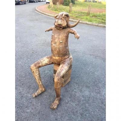 """P. Gomez , """" La Vache"""" Sculpture En Composition, Signée ,datée 1995"""