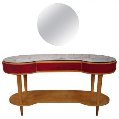 Dressing Table And Its Stool In Sycamore, Velvet And Bluish Mirror, Italy Circa 1950/1960