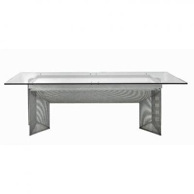 Large Design Desk In Steel And Glass Circa 1970/1980