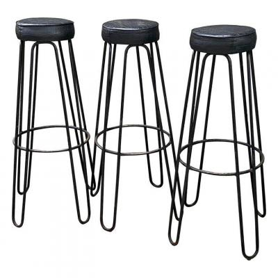 Suite Of 3 High Stools In The Style Of Royere, Raoul Guys, Circa 1950
