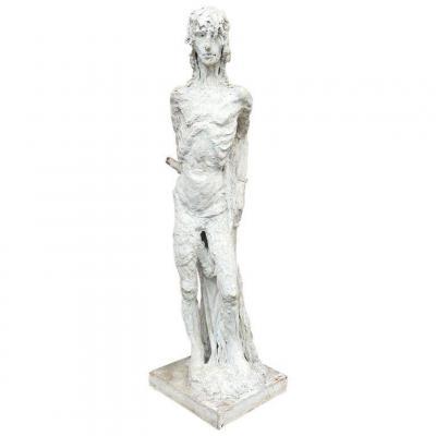 Marcel Delmotte (1901-1984) Rare Sculpture En Bois Et Platre, Circa 1960