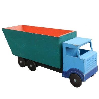 Art Populaire,jouet En Bois  Ancien Grand Camion Volvo En Bois Peint