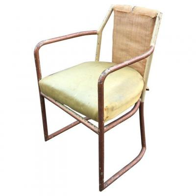 Art Deco Modernist Armchair In Painted Iron, To Restore, Circa 1920/1930