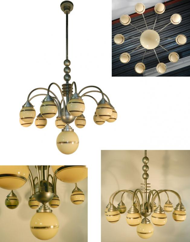 Large Modernist Chandelier Aluminum And Tinted Glass, Art Deco Period Circa 1930/1950-photo-2