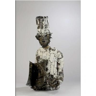 Francois Melin ( 1942-2019) Grand Esculpture En Métal Représentant 1 Cuisinier Circa 1970