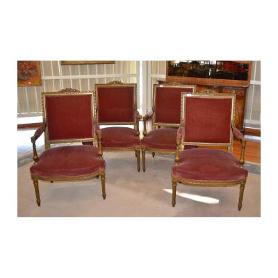 Suite Of 4 Armchairs, Partially Golden, Louis XVI Style, Napoleon III Period