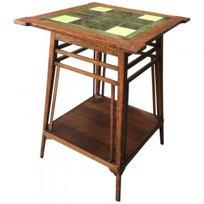 Petite Table Gueridon 1900 En Chêne Et Carreaux De Ceramique