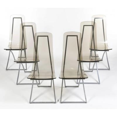 Suite Of 6 Chairs Ch4, Edmond Vernassa, Chromed Metal And Plexiglas, Circa 1970