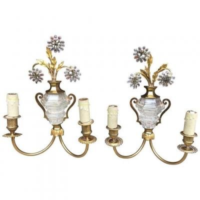 Maison Baguès, 2 Wall Lights In Bronze, Brass And Glass