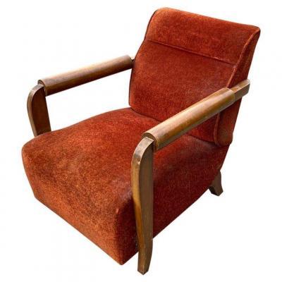 Large Art Deco Armchair In The Taste Of Dominique Circa 1930