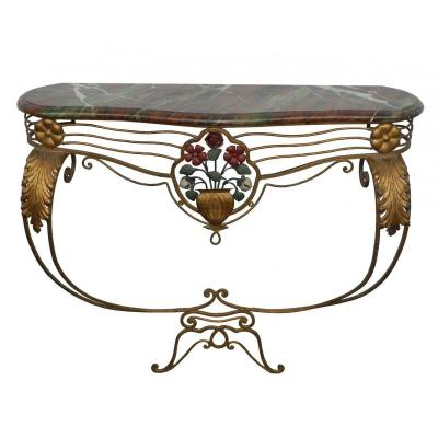 Fanciful Console Around 1950 In Metal Dore And Metal Lacquer, Tray