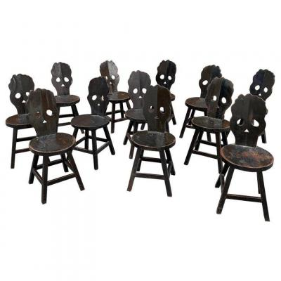 Important Suite Of 44 Brutalist Chairs In Blackened Wood Circa 1970, Sold Per Unit