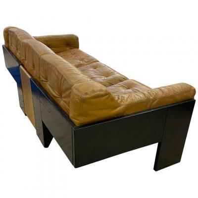3 Seater Sofa In Lacquered Wood And Leather, Italian Design Circa 1960/1970, Claudio Salocchi Style