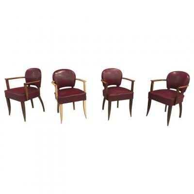 4 Art Deco Armchairs In The Style Of Jules Leleu Circa 1930