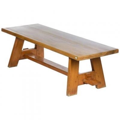 Grande Table Neoclassique En Orme Massif, Circa 1940 Dans Le Style De Charlotte Perriand