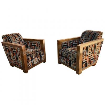 Pair Of Large And Deep Art Deco Armchairs In Mahogany Circa 1930