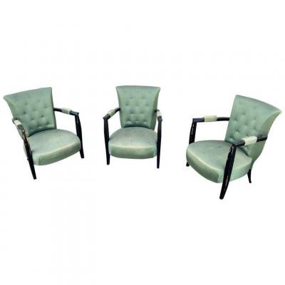 3 Art Deco Low Chairs In Blackened Wood And Satin, Circa 1930/1940