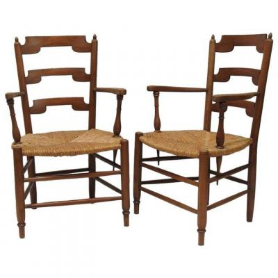 Pair Of Neo Rustic Armchairs In Cherry Circa 1950