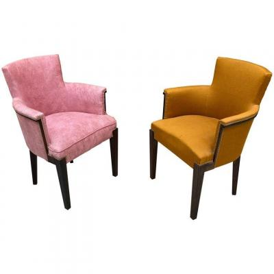 Pair Of Art Deco Armchairs In Macassar, In The Style Of Dominica, Circa 1930/1940