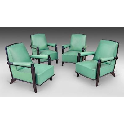 Suite Of 4 Art Deco Armchairs In Lacquered Wood Attributed To Jean Pascaud, Circa 1940/1950