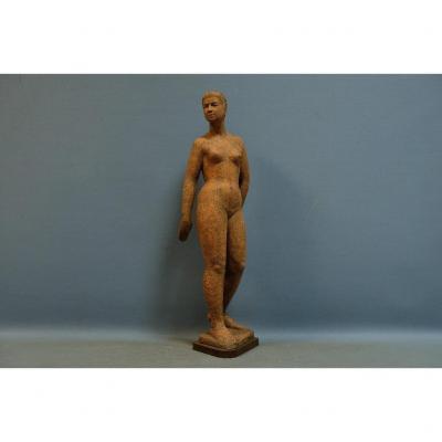 "Standing Nude "", Important Terracotta Sculpture, Monogrammed Pm For Perugini Mario"