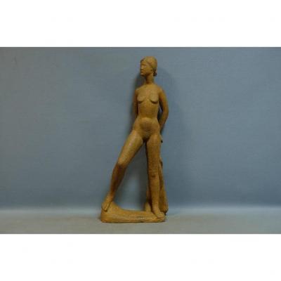 """standing Nude"", Important Terracotta Sculpture, Monogrammed Pm For Perugini Mario (h: 75"