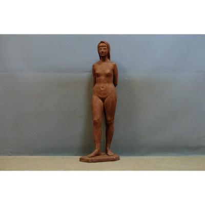 « Nu Debout », Importante Sculpture En Plâtre, Attribuée Et De Perugini Mario (h : 95)