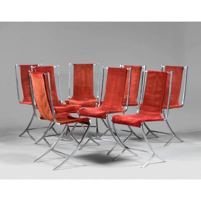 Pierre Cardin (1922-) Suite Of 8 Chairs, Original Metal And Velvet, Maison Jansen Edition