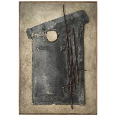 """Guylaine Guy 1929 """"L'hommede la Manche"""" 1988 """"Technique Mixte"""" large format 117 x 80 cm"""